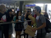 Hong Kong fans welcomed David at the airport