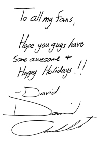 Happy Holidays-David's message to fans