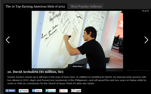 David Archuleta on Forbes Top-Earning list