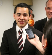 Elder Archuleta being interviewed by El Faro Mormon