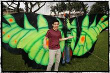 David Archuleta  with a big kite - Manila, 2012