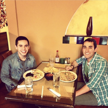 David Archuleta with Spanish songwriter Jacob Escobar at Casa Vieja restaurant - 4-26-2014